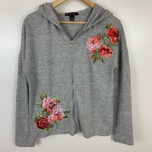 INC Floral Embroidered Zip Front Hoodie Sweatshirt